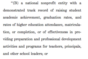 "Those in the education reform wars can probably name off a slew of ""national non-profits"" who stand to gain on this one."